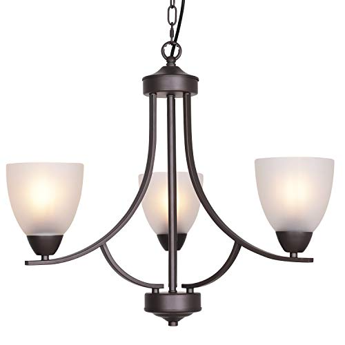 VINLUZ 3 Light Shaded Contemporary Chandeliers with Alabaster Glass Oil Rubbed Bronze Modern Light Fixtures Ceiling Hanging Mid Century Pendant Lighting for Dining Room Living Room Hallway - 3 Chandelier Light Contemporary