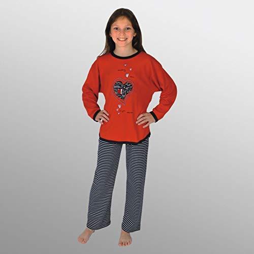 Pijamas largos para chicas 2 piezas Corazon color rojo tallas 116-176 size 116