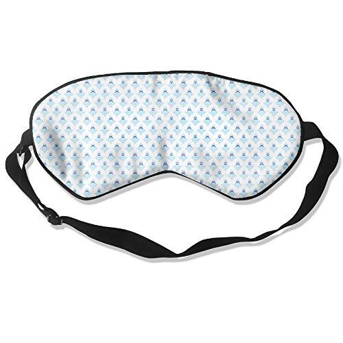 100% Double-sided Silk Super-Smooth Eye Mask Halloween Smiley Ghost Light Blue Adjustable Blindfold Sleep Masks Adult & Kids]()