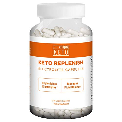 Kiss My Keto Flu Electrolyte Capsules - 240 Count, Energy Supplement for Ketogenic Diet, Rapid Rehydration, Cramps, Recovery, Fatigue, Endurance w/Sodium, Calcium, Potassium, Magnesium, Zinc