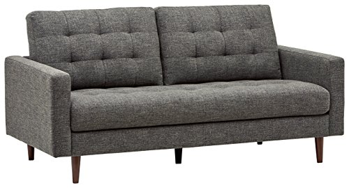 "Amazon Brand – Rivet Cove Mid-Century Modern Tufted Sofa with Tapered Legs, 72""W, Dark Grey - Impress your friends with this mid-century modern style. The blocky silhouette of this sofa, softened by hand tufting on the back pillows, will look sharp in your living room. 71.7""W x 33.9""D x 35.4""H Sturdy hardwood frame and solid beech wood legs - sofas-couches, living-room-furniture, living-room - 41US4Ia2z7L -"