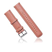 Nuosi Deng Deluxe Stainless Steel Metal Bracelet Watchband Strap Watch Band for Samsung Galaxy Gear Gear 2 R380/Neo R381/Live R382 Smart Phone (leather pink)