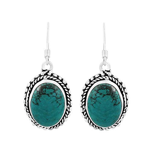Natural Oval Shape Turquoise Bohemian Style Dangle Earrings 925 Silver Plated Handmade Oxidized Finish Jewelry For Women Girls ()