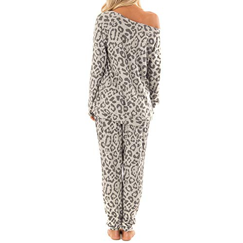 Womens Casual 2 Piece Outfits Long Sleeve One Shoulder Tee Tops Loose Leopard Print Pajamas Soft Breathable Lounge Pants Summer Leisure Wear