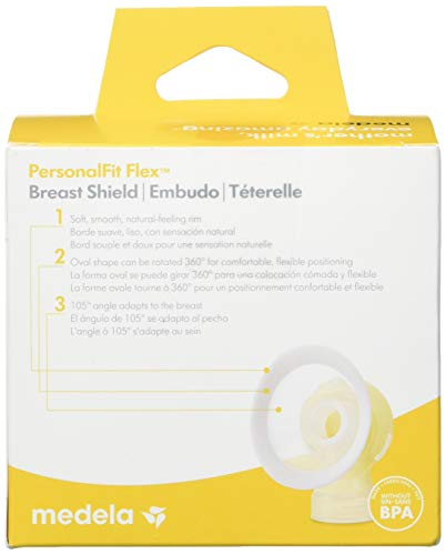 Medela PersonalFit Flex Breast Shields, 2 Pack of Medium 24mm Breast Pump Flanges, Made Without BPA, Shaped Around You for Comfortable and Efficient Pumping