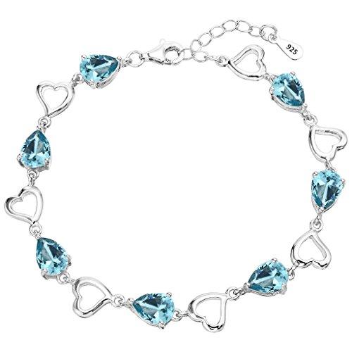 EleQueen 925 Sterling Silver CZ Love Heart of Ocean Teardrop Bridal Tennis Bracelet Aquamarine Color by EleQueen