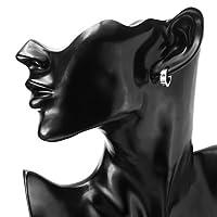 Men Jewelry Set Huggie Hinged Hoop Dangle Earrings, Stainless Steel, Hypoallergenic, Urban Hoop Earrings