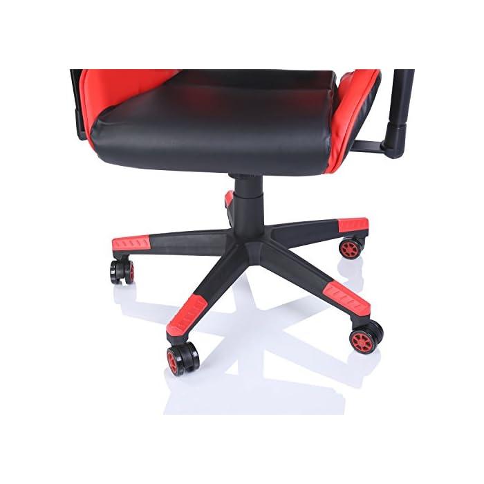 41US5s349ZL Características del producto: Silla de oficina Racing silla de escritorio silla de ordenador gaming silla giratoria silla de dirección en 6 variantes de colores, mecanismo basculante, respaldo ajustable de forma continua, que recoge a la perfección su cuerpo. Manteniendo una posición buena en la silla, usted y su espalda disfrutarán de una postura sana y correcta para poder trabajar largas horas o jugar a videojuegos. El apoyo lumbar está garantizado por un cojín regulable en altura. Peso máximo 120 kg. El cojín reposanucas (también regulable en altura) previene dolores en la nuca y un agarrotamiento. Los cojines son removibles. Su relleno se puede sustituir por materiales alternativas (relleno actual de espuma o algodón). El respaldo ajustable de forma continua con inclinación automática con un grado de inclinación de 180 posibilita una posición reclinada. Equipado con una base estrella y ruedas para suelos duros. Funciones principales en resumen: giratoria en 360° y regulable en altura, respaldo ajustable de forma continua con función de posición reclinada, reposabrazos regulables en altura, cojín reposanucas para prevención de dolores en la nuca y un agarrotamiento. Un cojín lumbar para una postura derecha, mecanismo basculante (la intensidad de la contrapresión del respaldo es ajustable con el mando rotatorio debajo de la silla).