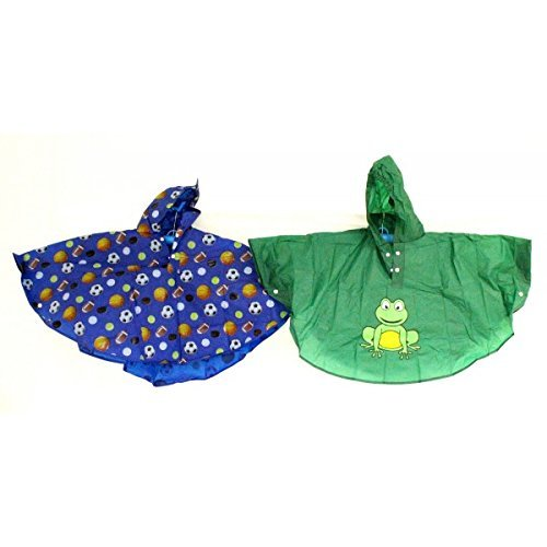 Ukayed Kids Printed Design Water Rain Proof Poncho Ages 3-6 Twin Pack Various Designs (Frog & Sports Ball Twin Pack)