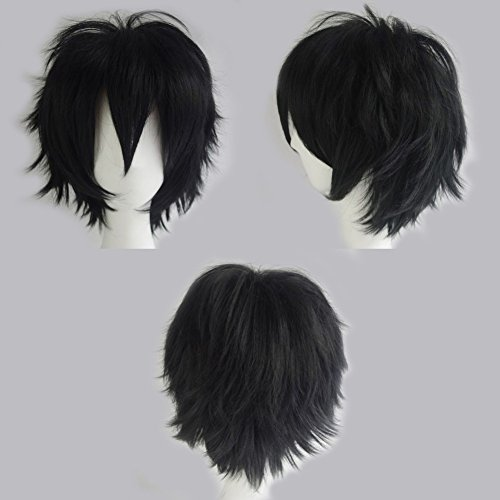 [S-noilite Unisex Short Cosplay Full Wig Black Curly Hair Tail Anime Costume Wigs With Bangs US Post] (Ups Package Costume)
