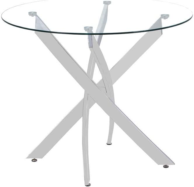 GOLDFAN Vetro Temperato Rotonda Tavolo da Cucina Circolare Moderno Tavolo da Pranzo con Gambe Cromate per Sala da Pranzo