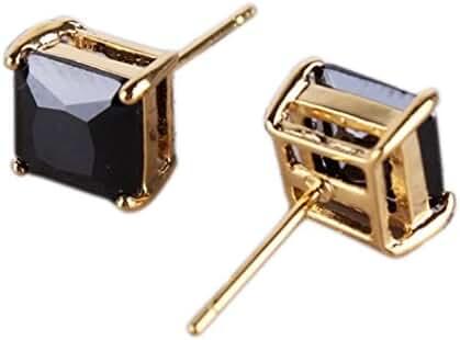 GULICX Yellow Gold Tone Black Cubic Zirconia Well-Liked Stylish Women Girl Stud Earring