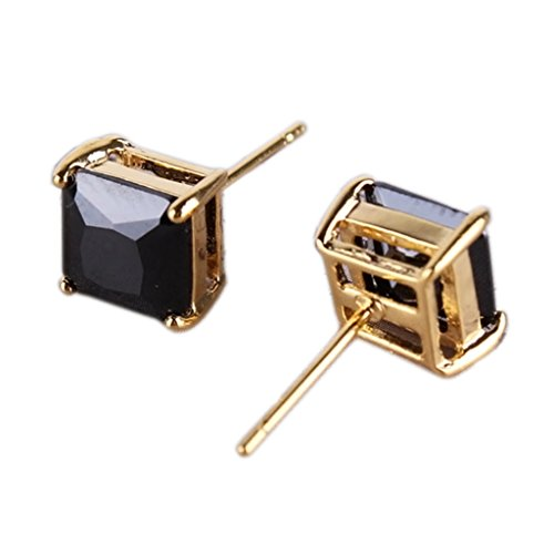 GULICX Yellow Gold Tone Black Cubic Zirconia Well-Liked Stylish Women Girl Stud Earring