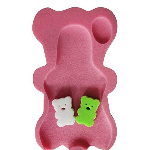 (Jannyshop Baby Bath Mat Non-slip Sponge Mat in Teddy Bear Shape Bath Tub Support for Newborn Babies (Pink))