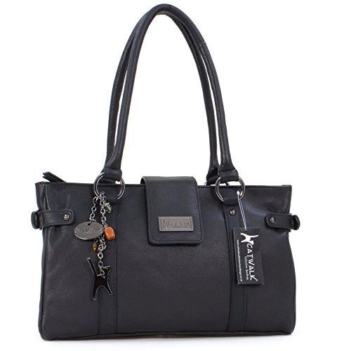 Catwalk Collection Leather Handbag   Martina Black BLACK Size: M