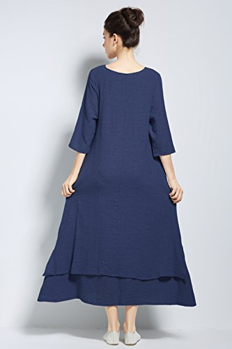 Cotton A Plus Anysize Summer Navy Dress F147A line Linen Size Spring 6qRWwUpBS