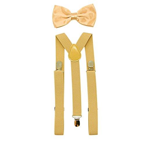 StyleZ Men's Suspenders Y back and Bow Tie Set Boys Shape Dress Braces Bowtie Steampunk Costume Tux Prom (Gold) -