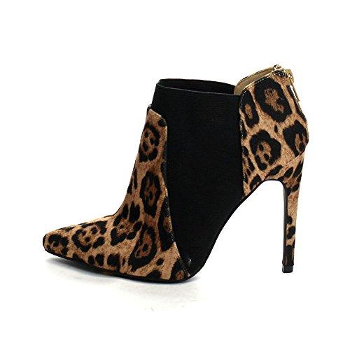 Beston Yuri-05 Womens Elegant Komfort Dragkedja Bak Halka På Stilettklackar, Färg: Leopard, Storlek: 7
