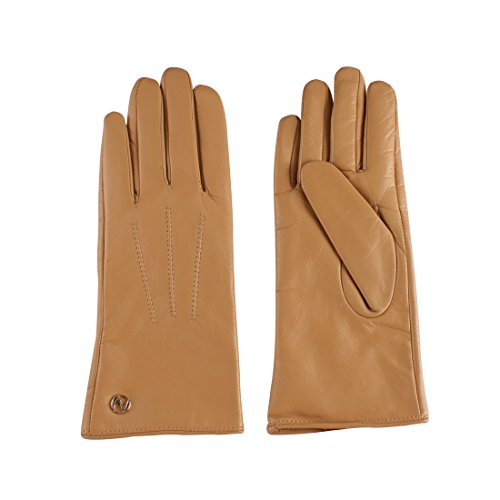 Women's Leather Gloves Lambskin Winter Cashmere Lining Driving Gloves