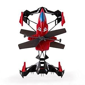 SUKEQ 2.4G 2.5CH 4 Axis Gyro Air Ground Drone RC Mini Variable Sports Car & Air Race RC Heli (Red)