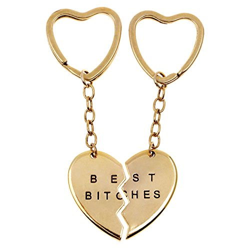 Charms Best Bitches Keychain,Best Friend KeyRing,BFF Keychain,Split Heart Key Ring, Best Friend Forever Love Jewelry Christams Gift,Best Bitches Love Gold