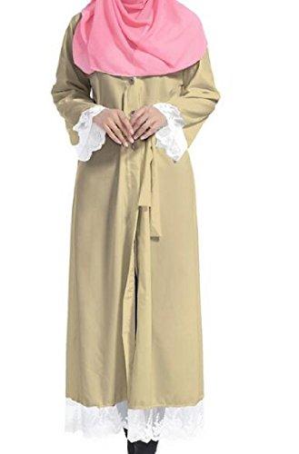 Womens Dress Colored Sleeve Muslim Long Comfy Solid Abaya Longline Khaki U8dIwR