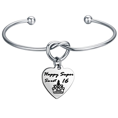 FEELMEM Birthday Gifts for Her Birthday Bracelets,12th Sweet 16 18th 21st,Love Knot with Heart Charm Bangle Bracelet, Ideas (16th Charm-Silver)