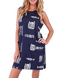 Ingear Women's Plus Size Dress Beach Casual Short Cotton Cover Up Dress