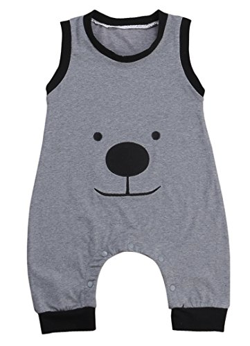 Baby Boys Summer Sleeveless Lovely Bear Harem Romper Jumpsuit (80(6-12M))