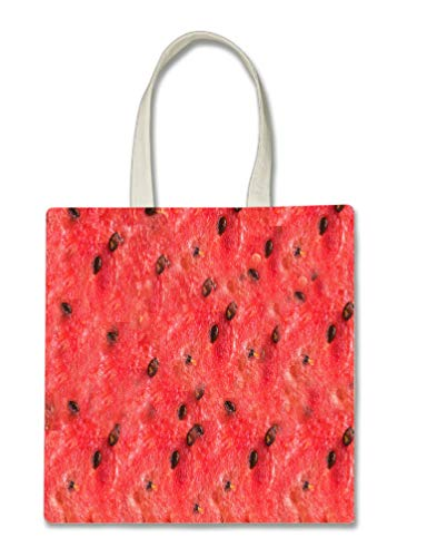 Watermelon Halloween Trick Or Treat Polyester White Tote Bag 15x16x 3.5]()