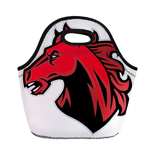 (Semtomn Lunch Bags Bronco Red Horse Mustang Head Mascot Stallion School Colt Neoprene Lunch Bag Lunchbox Tote Bag Portable Picnic Bag Cooler)