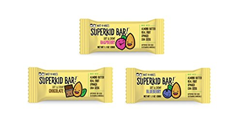 MATT N' MIKE'S SuperKid Bar! – kid's snack energy bar – plant based protein, 3g fiber, 3g protein, gluten free, soy free, dairy free – superfood snack | 30g bar, 15 count