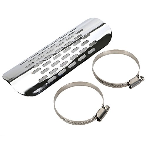 Motorcycle Exhaust Muffler Pipe Heat Shield Cover for Harley Davidson Kawasaki Cruiser,by ECLEAR - Chrome