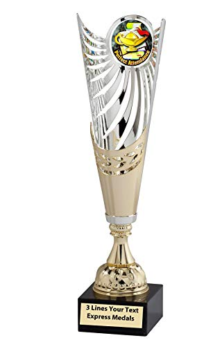(Express Medals Gold - Silver Perfect Attendance Metal Trophy Cup Marble Base and Personalized Engraved Plate)