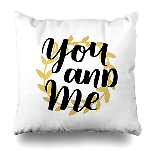 Ahawoso Throw Pillow Cover Drawing Birthday Handwritten Lettering Quote About Love Valentines Gold Abstract Black Contour Cute Home Decor Pillow Case Square Size 18 x 18 Inches Zippered Pillowcase ()