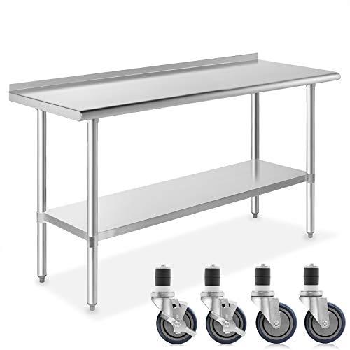 GRIDMANN NSF Stainless Steel Commercial Kitchen Prep & Work Table w/ Backsplash Plus 4 Casters (Wheels) - 72 in. x 24 in.