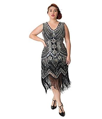 Unique Vintage Plus Size 1920s Deco Silver & Black Veronique Fringe Flapper Dress