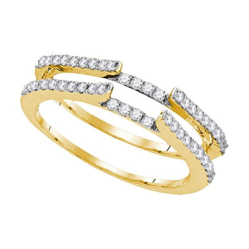 Sonia Jewels Size 7-14k Yellow Gold Round Diamond Ring Guard Wrap Solitaire Enhancer (1/2 Cttw)