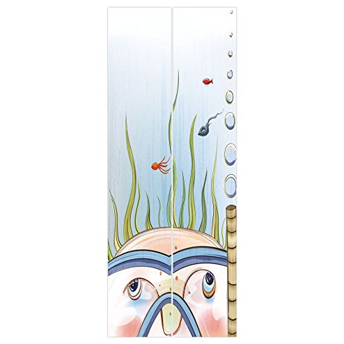 (3d Door Wall Mural Wallpaper Stickers [ Quirky Decor,Snorkeling Kid Child Underwater Fishes Algae Bubbles Summer Season Holiday Decorative,Multicolor ] Mural Door Wall Stickers Wallpaper Mural DIY Hom)