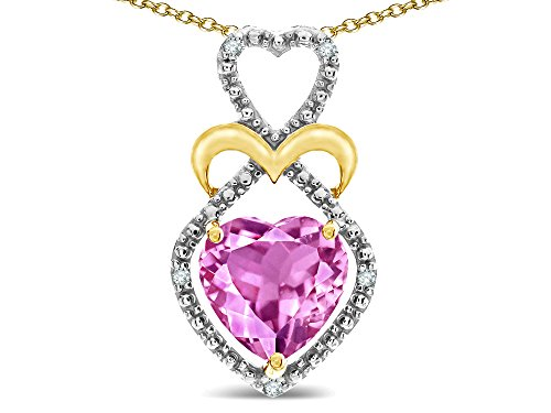 Star K Heart-Shape 8mm Created Pink Sapphire Heart Halo Embrace Pendant Necklace 10k Yellow Gold with Rhodium Finish