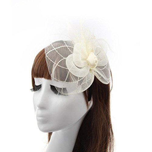 Fascinator Hair Clip Head Hoop Feather Rose Flower Derby Cocktail Party Wedding Women Beige (Halloween Prop Making Books)