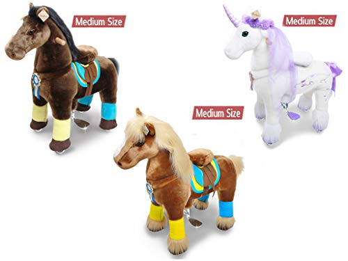 (PonyCycle White and Purple Unicorn, Brown and Chocolate Brown Riding Horse for Age 4-9 Years Medium Size)