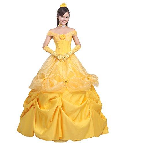 Ainiel Women's Cosplay Costume Princess Dress Yellow Satin (XL, Style 3)]()