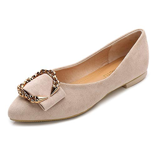 Meeshine Womens Classic Pointy Toe Ballet Flats Slip On Suede Flat Shoes Nude-04 US 9