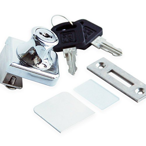 "Glass Display Cabinet Showcase Lock for ¼"" Glass Door No Drill with 2 Keys , Chrome Pleated"