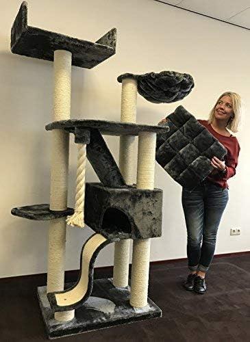 Rascador para gatos grandes Kilimandjaro de Luxe Gris oscuro baratos arbol xxl maine coon gato gigante sisal muebles sofa casa escalador casita torre Árboles rascadores cama cueva repuesto medianos: Amazon.es: Productos para