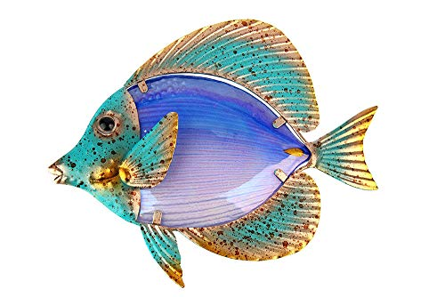 Liffy Metal Fish Wall Art Outdoor Decor Hanging Glass Garden Decorations for Patio, Deck or Bathroom