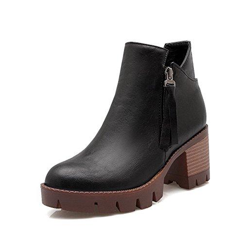 Allhqfashion Dames Pu Low-top Solid Rits Kitten-hakken Laarzen Zwart
