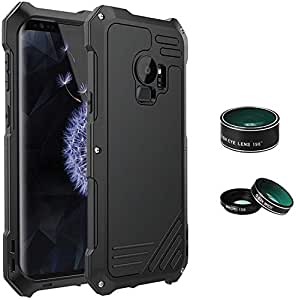 For Samsung Galaxy S9 Plus With Camera Lens 3 in 1 (198 Degree Fisheye Lens 15X Macro Lens Wide Angle Lens) Water Dirt Shock-Proof Aluminum Case Protection Shell Back Cover