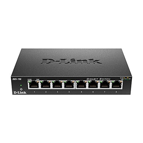 D-Link DGS-108/E 8-Port Layer2 Gigabit Switch (25 x 21,3 x 6,8 cm, 4.5 Watt) schwarz